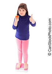 Thumbs Up For Weight Loss - Little girl showing thumbs up...