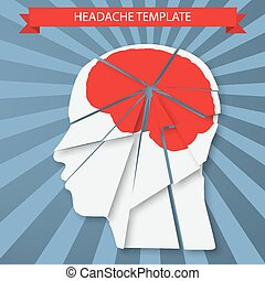 Headache. Silhouette of human head with red brain - Vector...