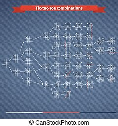 Tic-tac-toe combinations - Set of handdrawn Tic-tac-toe...