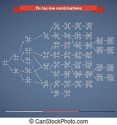 Tic-tac-toe combinations - Set of handdrawn Tic-tac-toe...