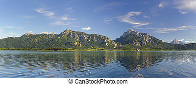 Panorama landscape in Bavaria at alps mountains and lake...