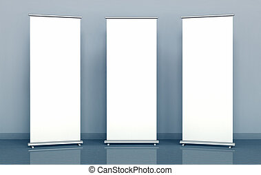 Blank roll-up banners against the blue wall