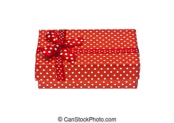 Red gift box with ribbon isolated on a white background