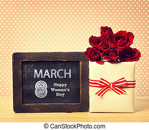 Happy Womans Day message with roses and present box - Happy...