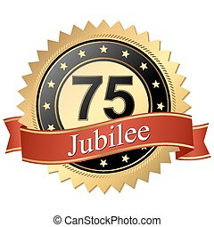 Jubilee button with banners - 75 years - Jubilee button with...