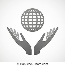 Two hands offering a world globe - Illustration of two hands...