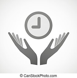 Two hands offering a clock - Illustration of two hands...