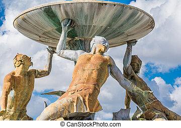 triton, fontaine, détail, Malte,