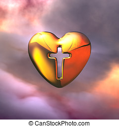 Heart of God, Holy Cross - Holy Cross in the golden Heart in...