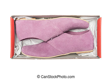 mauve shoes in box isolated on white background