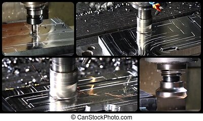 milling machine collage - milling machine in action collage