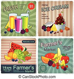 Hand drawn set of vintage fruit banners