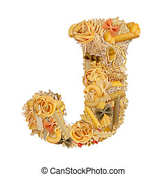 Letter J made from pasta isolated on white
