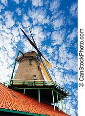 stary, wiatrak, w, Zaandam, Niderlandy,