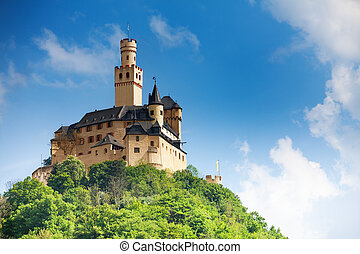 View Marksburg castle on top of the mountain - View...
