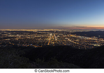 Los Angeles and Glendale Mountaintop View. - Night...