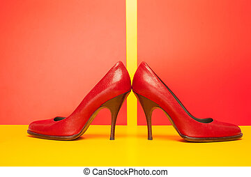red high heels shoes