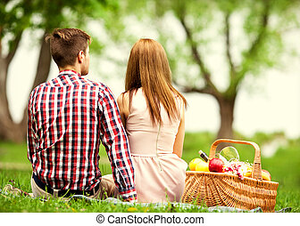 couple in love at a picnic in the park, Valentine's Day