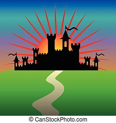 Fantasy castle in the morning. - Silhouette of Fantasy...