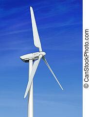 blaues, himmelsgewölbe, gegen, bewölkt,  Turbine,  Wind