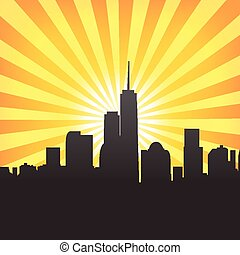 city scape sunburst-3 - Modern cityscape on Sunburst Pattern...