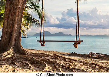 A wooden swing in a tree on the beach with beautiful views of th