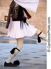 Evzone\'s uniform - Evzone with a traditional uniform at...