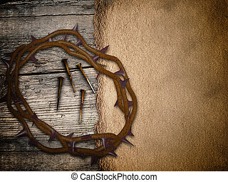 Crown of thorns, grunge Easter background - religious Easter...
