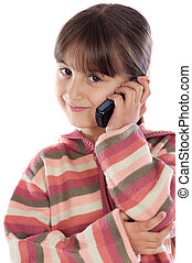 casual girl talking on the cellphone a over white background