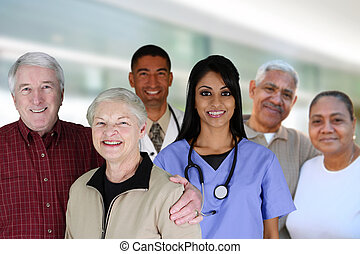 Senior Health Care - Senior couples with their medical...