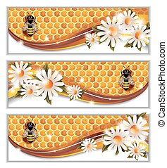 Honey Banners - Vector set of three colorful honey banners...