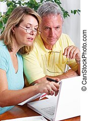 Senior couple at home with computer.