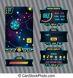 Futuristic space game interface with screens Loading,...