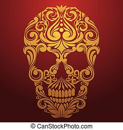 gold skull ornamental