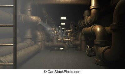 Old piping system at factory - Interior of factory...