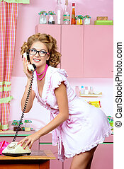 cute robe - Beautiful sexy pin-up girl talking on the phone...