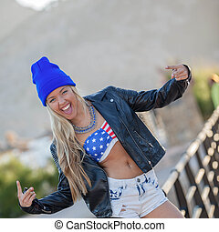 young confident american teen girl