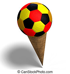 soccer ball in an ice cream cone