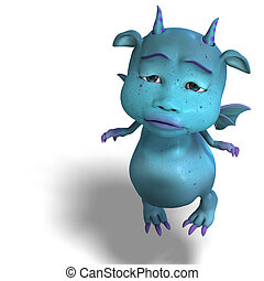 little blue cute toon dragon devil - 3D rendering of a...