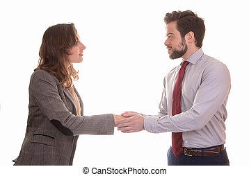 business partners shaking hands - handshake or deal business...