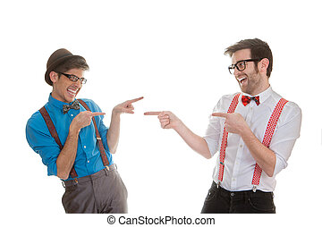 quirky business men pointing - quirky humorous, funny...