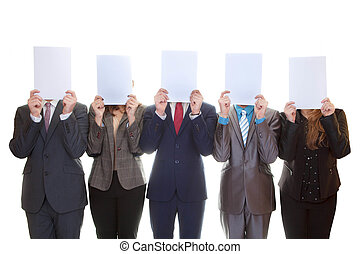 business team holding blank papers - business team holding...