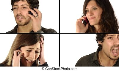 love ends, love begins, couples talking on the phone,...