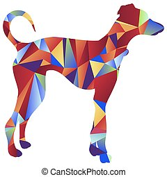 Polygon Greyhound Dog Icon - An image of a greyhound dog -...