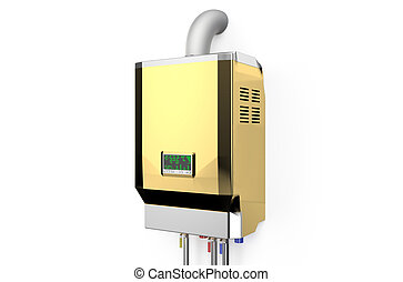 Golden home gas-fired boiler, water heater isolated on white...