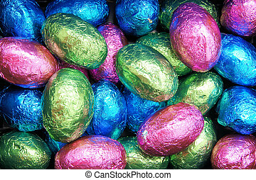 Easter egg chocolate background - Colorful wrapped Easter...