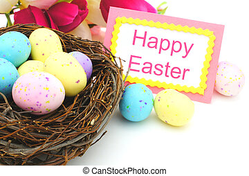Happy Easter card with nest - Happy Easter card and...