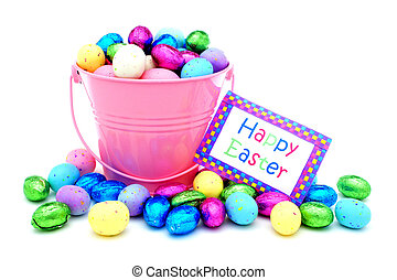 Happy Easter card with candy - Happy Easter card with pink...