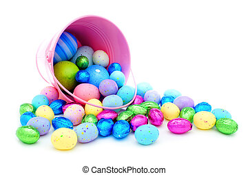 Spilling pail of Easter candy - Pink Easter pail spilling...