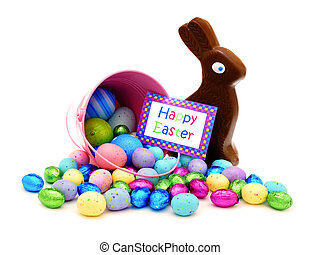 Happy Easter card with candy - Happy Easter card and pink...